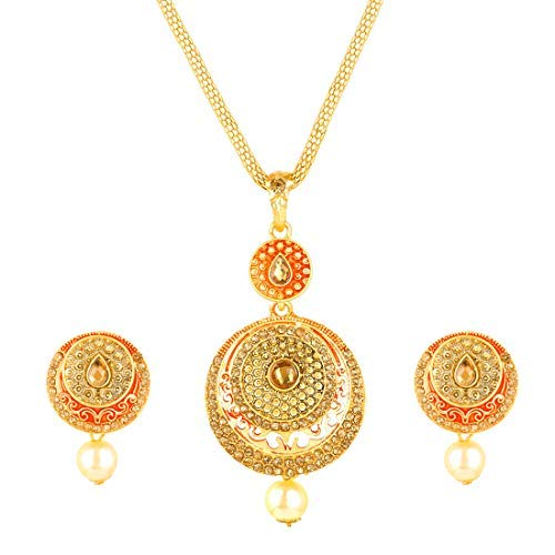 Yellow Chimes Indian Style Ethnic Design Meenakari Traditional Kundan Gold Plated Necklace Jewelry Set Party Wear Indian Bollywood Traditional Jewelry for Women from
