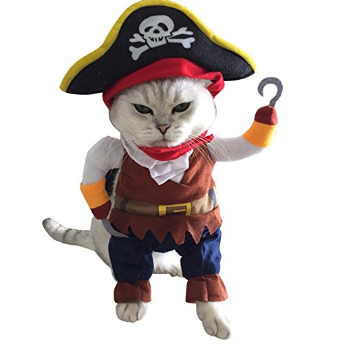 Gyoume Pet Dog Cat Lovely Halloween Pirate Cool Cute Dog Pet Cosplay Costume Clothing for $<!--$3.76-->
