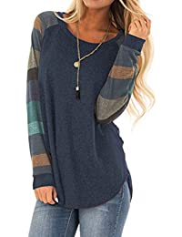 Women's Lightweight Color Block Long Sleeve Loose Fit Pullover Sweatshirts Tunics Tops Shirts