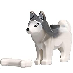 "LEGO Animal Minifigure Husky Arctic Sled Dog with Bone (Aprox. 1"" inch Size)"