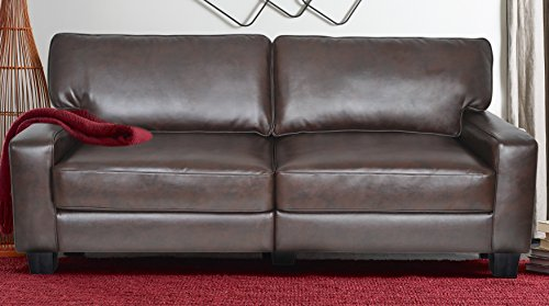 "Serta RTA Palisades Collection 78"" Bonded Leather Sofa in Chestnut Brown, CR43595P"