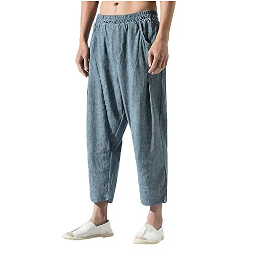 Men's Casual Vintage Loose Cotton Linen Pure Color Comfort Calf-Length Pant Light Blue ()