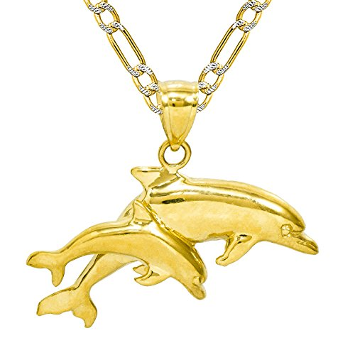 14K Yellow Gold Double Dolphins Pendant Necklace (16 Inches, White Pave Figaro Hollow Chain) 14k Gold Double Dolphins Pendant