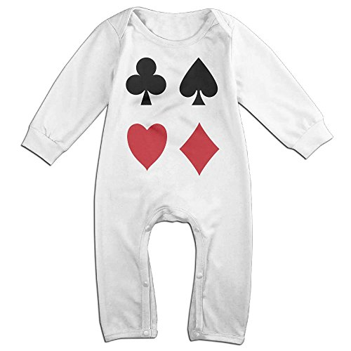 Price comparison product image Baby Infant Romper Poker Card Long Sleeve Jumpsuit Costume White 6 M