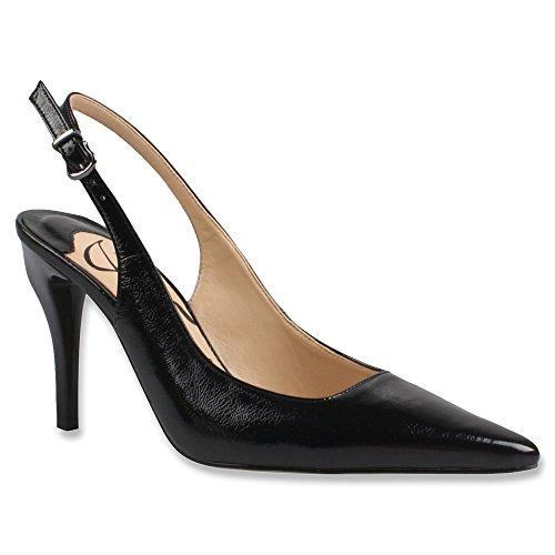 J. Renee Womens Alsen Dress Pump Black Crinkle Faux Patent