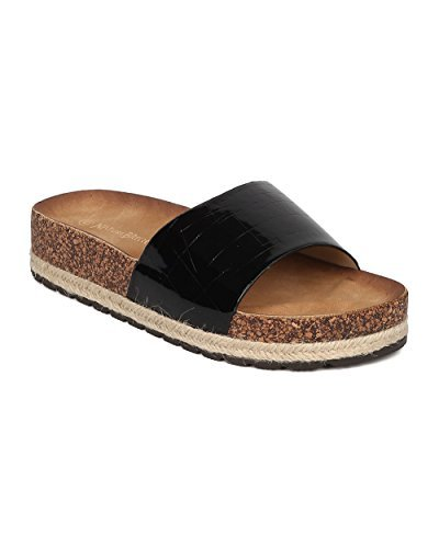 Women Patent Leatherette Reptile Open Toe Espadrille Footbed Sandal GH93 - Black (Size: - Patent Espadrilles Black
