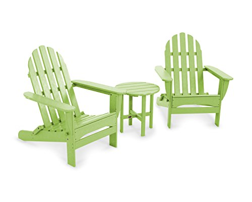 POLYWOOD PWS214-1-LI Classic Adirondack Chair Seating Set, Lime