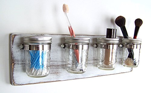 Farmhouse Mason Jar Organizer by Out Back Craft Shack: Bathroom, Kitchen, Storage; Rustic White