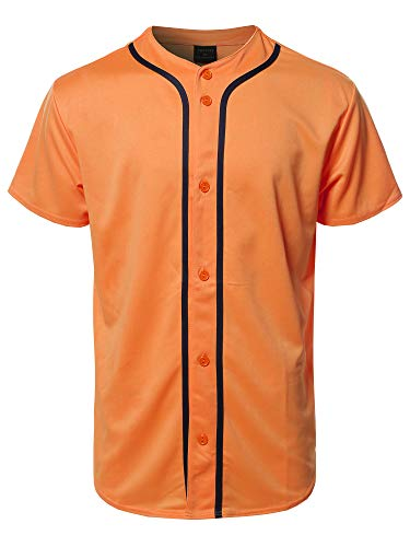 On At Jersey Softball (Youstar Solid Front Button Closure Athletic Baseball Inspired Jersey Top Orange M)