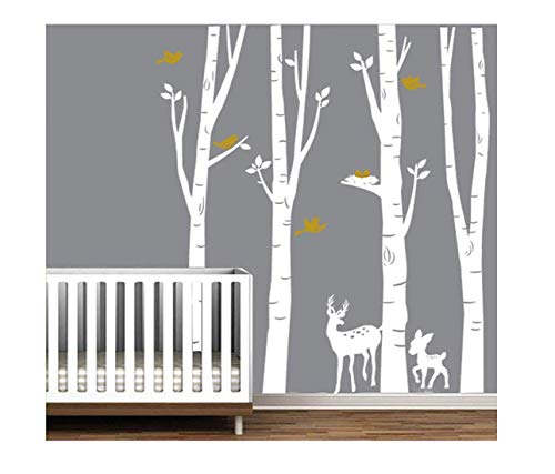 LUCKKYY Large Birch Tree Deer Wall Decal Forest Birch Trees Birch Trees Vinyl Kids Vinyl Sticker Vinyl Wall Decal Family Room Art Decoration (White Birch)