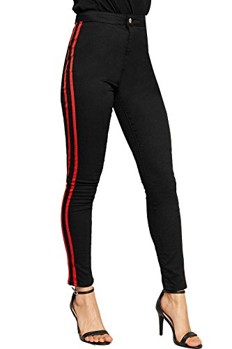 Black Ladies Denim Women's Leg Jeans Contrast Stretch Striped Pocket 6 16 Racer Skinny WearAll Trousers wYq1x66v