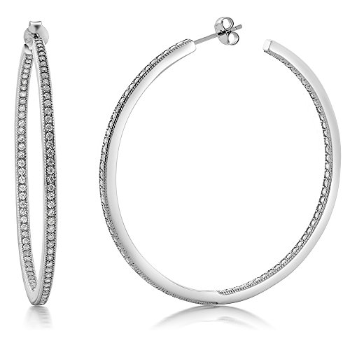 Gem Stone King Sterling Silver Inside Out Hoop Earrings Women's Pave Round White Cubic Zirconia CZ (1.50 cttw, 2.00 Inch = 52MM)