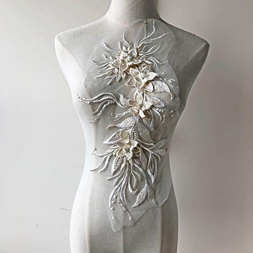 Luxury Embossed Flower Lace Applique with Pearl Details Beaded Floral Appliques Fine Embroidery Patches Dress Fringe Sew on Gown Dress Costume -