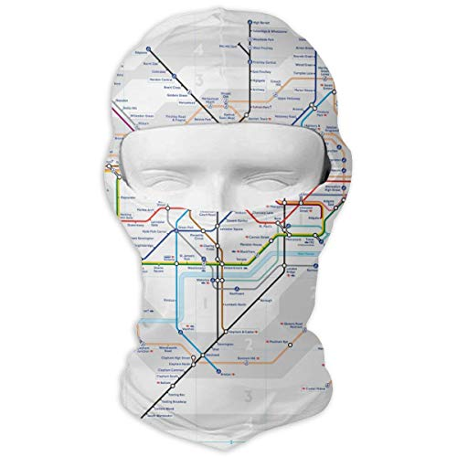 Leopoldson London Underground Map Tube Lines Balaclava UV Protection Windproof Ski Face Masks for Cycling Outdoor Sports Full Face Mask Breathable -