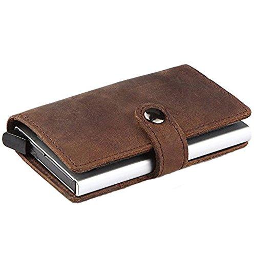 HONB RFID Credit Card Holder Wallet, Slim Genuine Leather Wallet, Small Card Case, Mini Wallet (Brown Genuine Leather) (Best 0 Interest Credit Card Offers)
