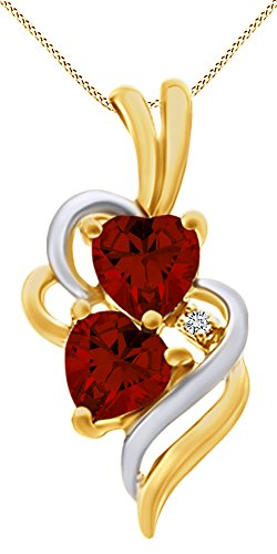 (AFFY Simulated Garnet & White Cubic Zirconia Double Swirl Heart Two Tone Pendant Necklace in 14k Yellow Gold Over Sterling Silver)