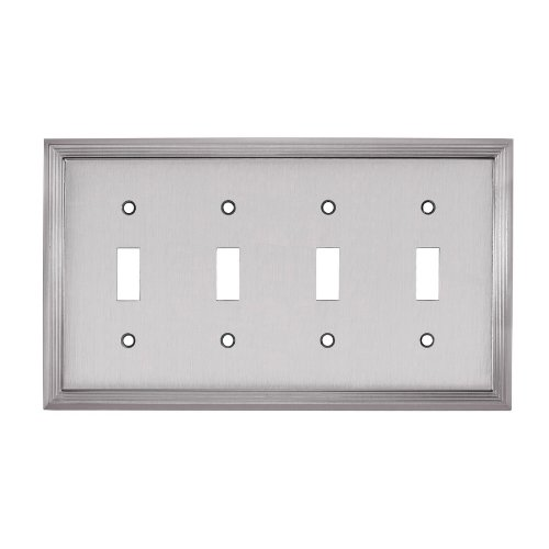 allen + roth Quad Toggle Switch Wall Plate, Brushed Satin...