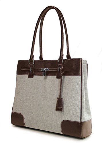 Mobile Edge Women's Madison Two-Tone Canvas Laptop Tote Bag in Chocolate