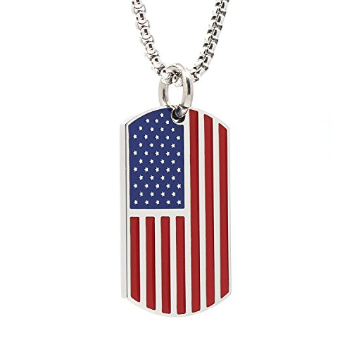 Silver Stainless Steel USA American Flag Dog Tags Pendant Necklace for Men Chain 24''