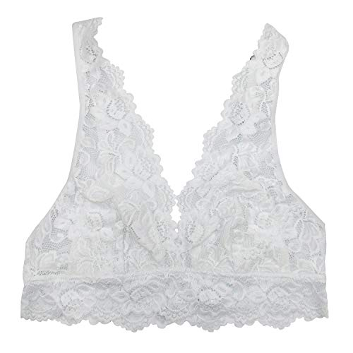 Undie Couture Wide Strap Lace Bralette (White, Large)