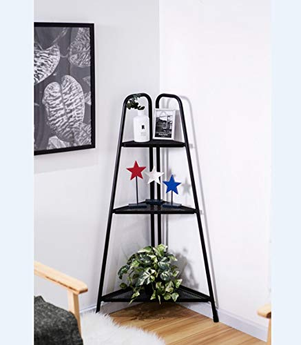 Flower Stand Nordic Corner Bookcase Wall Shelf Three-Story Indoor Wrought Iron Plant Stand Shelf Storage Rack Balcony Multi-Layer Living Room Home Flower Pot Decor by BBtime ()