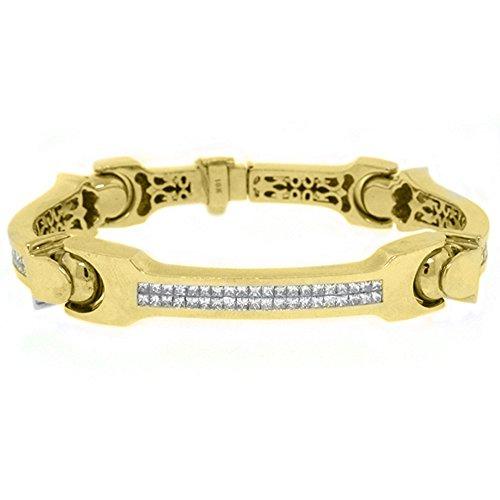 18k Yellow Gold Mens Square Cut Invisible Diamond Bracelet 6.38 Carats