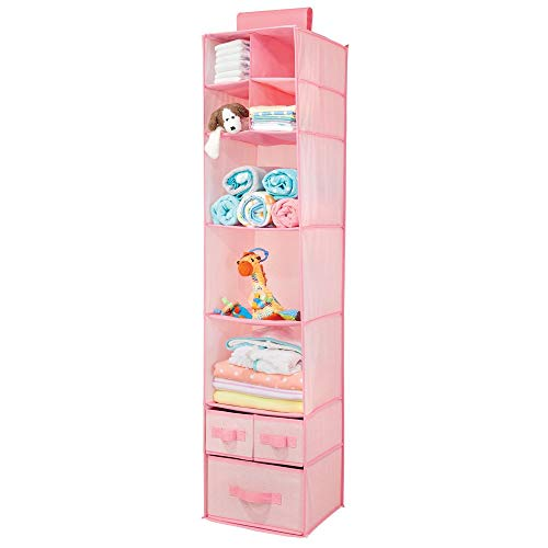 Room Girls Hanging - mDesign Soft Fabric Over Closet Rod Hanging Storage Organizer with 7 Shelves and 3 Removable Drawers for Child/Kids Room or Nursery - Herringbone Print - Pink