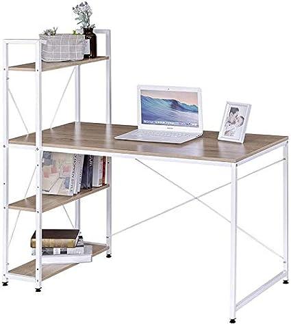 Mobelcenter - Mesa de Escritorio diseño Moderno y Industrial - Mesa Estudio - Mesa de Escritorio con estantería - Mesa de Oficina Moderna (1143)