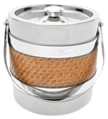 Mr. Ice Bucket 3-Quart Stainless Steel Ice Bucket, Wicker by Mr. Ice Bucket (Image #1)