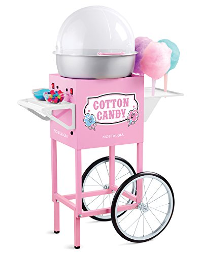 Nostalgia CCM600 Vintage Professional Cotton Candy Cart, 50-Inches Tall, Pink