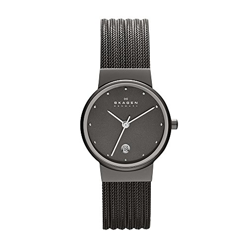 Skagen Women's Ancher Quartz Stainless Steel Mesh Dress Watch, Color: Grey (Model: - Mesh Womens Skagen Black Watch