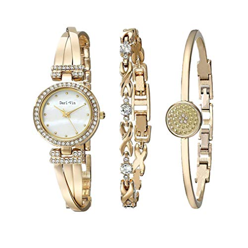 Women's Wrist Watches with Rose Gold Band 3 Sets Match Any Outfits (Gold)