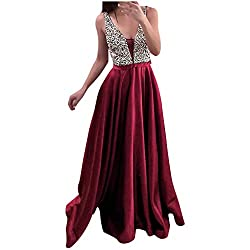 Women's Sequins V-Neck Evening Gown