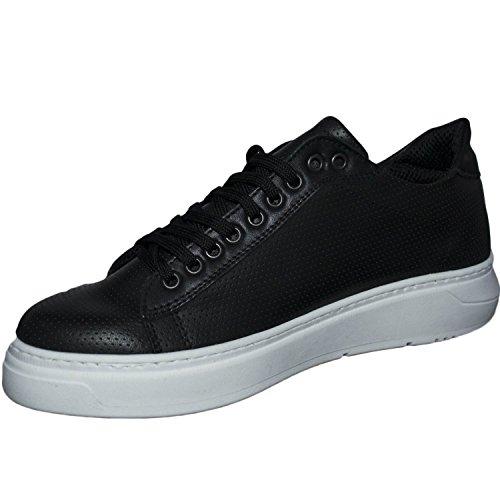Sneakers bassa scarpe uomo art 100 nero fondo doppio army vera pelle microforata made in italy
