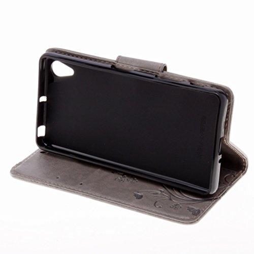 Custodia Sony Xperia X Performance Cover Case, Ougger Fiore Farfalla Portafoglio PU Pelle Magnetico Stand Morbido Silicone Flip Bumper Protettivo Gomma Shell Borsa Custodie con Slot per Schede (Grigio
