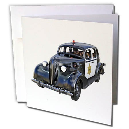 3dRose Boehm Graphics Car - Old Style Police Car - 1 Greeting Card with Envelope (gc_282381_5)