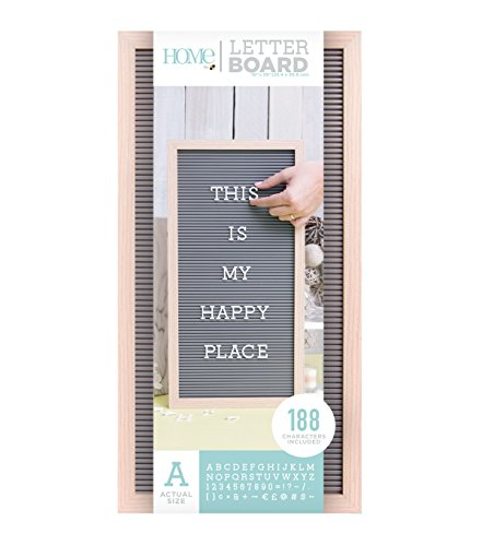 American Crafts 10 x 20 Inch Frame with Gray Die Cuts with a View Letterboards, 10 x 20, Natural