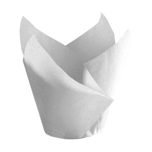 Hoffmaster 611116 Tulip Cup Cupcake Wrapper/Baking Cup, 2'' Diameter x 3-1/2'' Height, Small, White (Case of 1000) by Hoffmaster