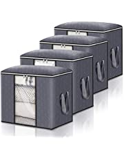 Large Capacity Storage Bags, Storage Organizers with Reinforced Handle, Stainless Steel Zipper, 3 Layer Fabric for Comforters, Bedding, Blankets Clothing