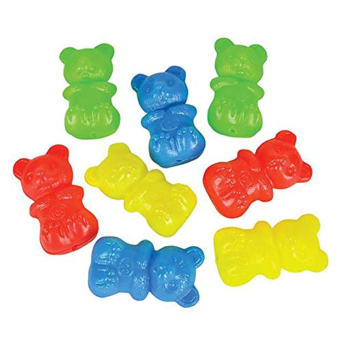 Blow Mold Gummy Bear Toy- 144 Pieces of Mini Plastic Teddy Bears- Assorted Neon Bear Sorter- Perfect for Nursery Counting Tool, Color-Matching Activities, Montessori Toys and DIY Crafts -