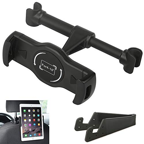 Car Headrest Mount Holder Phone Tablet Holder Stand Cradle for iPad Mini 2 3 4, iPad Pro Air Mini, iPhone X 8 8 Plus 7 7 Plus 6s, Samsung Galaxy Tab, Kindle Fire 7 8 HD and Other 4-10 Smartphones