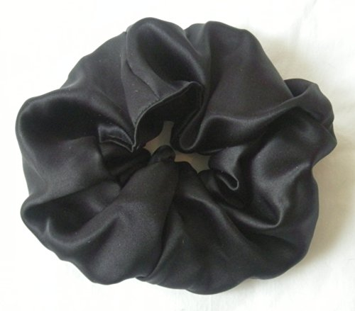 - Black Silk Charmeuse Scrunchy-Large -Black silk Scrunchy- Scrunchies For Hair - silk Scrunchies - Made In The USA - Hair Scrunchies For Women - 6 Month Warranty - Scrunchies For Hair silk - Christmas