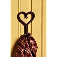 Antique Primitive Vintage Iron Iron Brown Heart Scrolled Towel, Jacket, Coat, or Hat Wall Wall Hooks for Towel, Jacket, Coat, Hat s