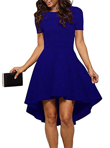 ReoRia Women Womens Scoop Neck Short Sleeve High Low Cocktail Party Skater Dress Royal Blue Small