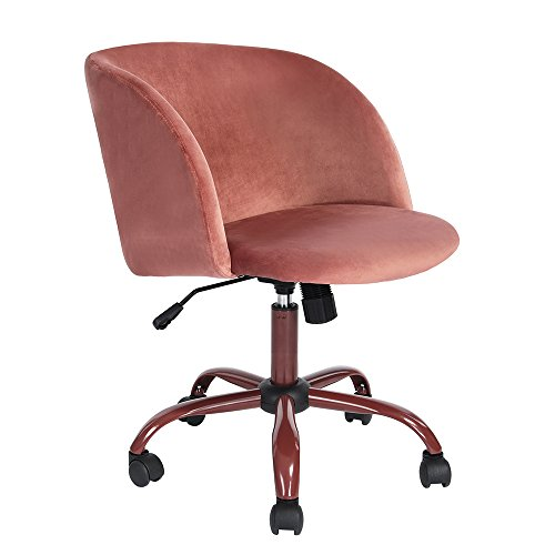 EGGREE Mid Back Swivel Computer Desk Chair Ergonomic Office Task Chair Executive Chairs with Velvet Seat Armrest,Rose Pink