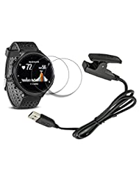X1 Garmin forerunner 235 Charger 230 630 Charging Clip Synchronous Data Cable + X2 FREE Glass Screen Protector for Garmin Foreruuner sports Watch