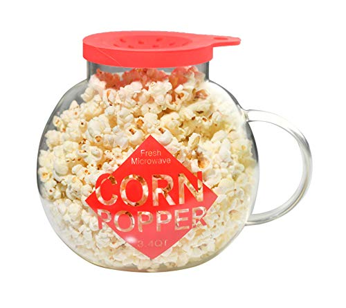 Home-X Microwave Popcorn Maker 3 Quart Microwavable Popper | Temperature Safe Glass, Snack Size, Red ()