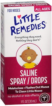 Little Remedies Saline Nasal Spray/Drops - 1 oz, Pack of 5