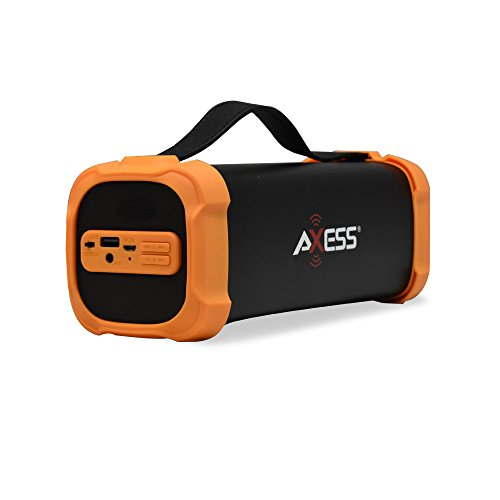 AXESS SPBT1073 Portable Indoor/Outdoor Bluetooth Media Speaker with Built-In 3.5mm Line-In Jack Rechargeable Battery and Subwoofer Orange