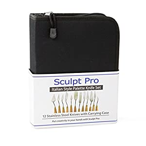 Sculpt Pro Palette Painting Knife Set- 12 Stainless Steel Art Palette Knives Carrying Case
